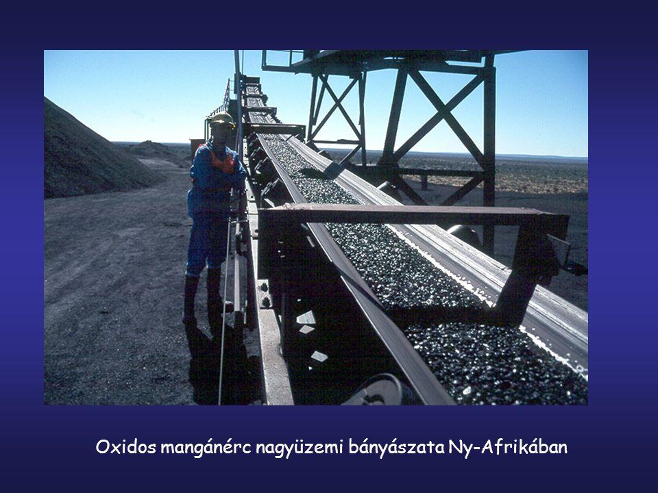 Oxidos mangánérc nagyüzemi bányászata Ny-Afrikában