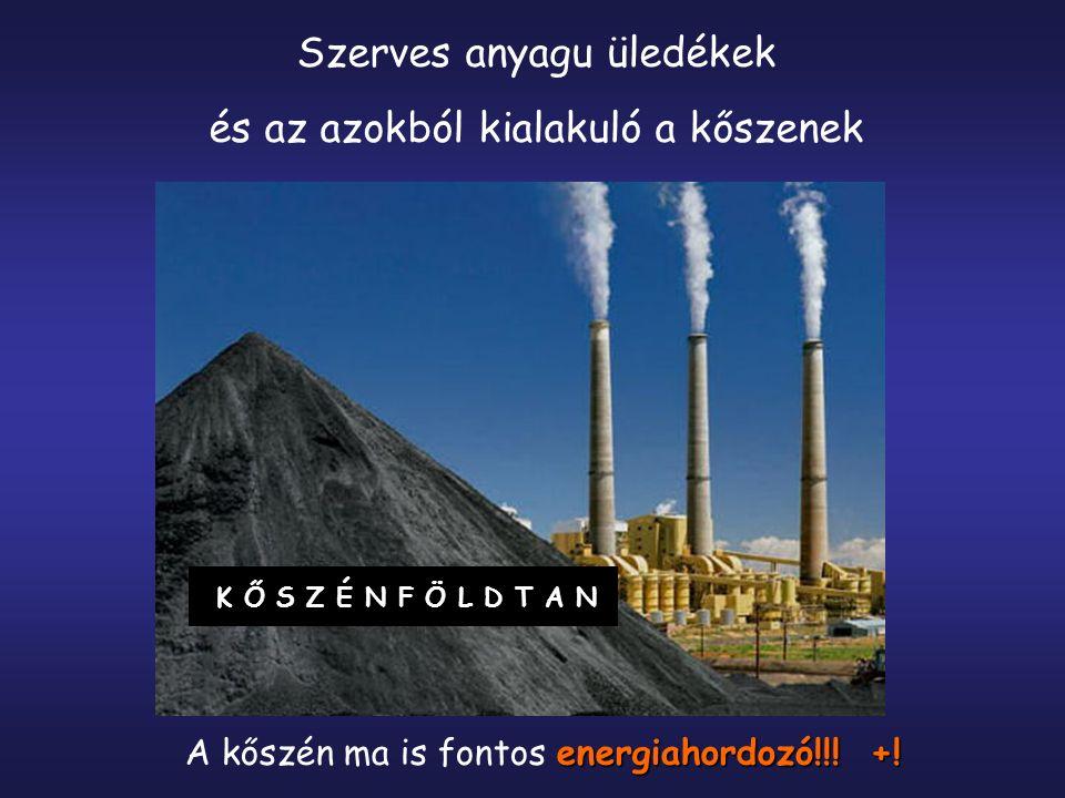 KŐSZÉNFÖLDTAN Szerves anyagu üledékek és az azokból kialakuló a kőszenek energiahordozó!!! +! A kőszén ma is fontos energiahordozó!!! +!