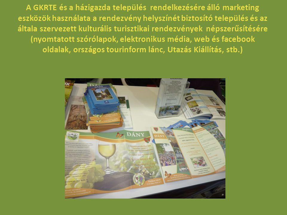 A GKRTE és a házigazda település rendelkezésére álló marketing eszközök használata a rendezvény helyszínét biztosító település és kulturális turisztikai programok népszerűsítésére (nyomtatott szórólapok, elektronikus média, web és facebook oldalak, országos tourinform lánc, Utazás Kiállítás, stb.) A GKRTE és a házigazda település rendelkezésére álló marketing eszközök használatának célja az Egyházi- és Világi Borok Versenyén részt venni szándékozó egyházi és világi borászatok valamint pincészetek figyelmének felhívása a részvételi lehetőségre és annak feltételeire.