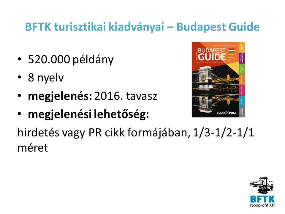 BFTK turisztikai kiadványai – City Map Évente 1.700.000 példány megjelenés: negyedévente értékesítést a Turizmus Kft.-vel közösen végezzük
