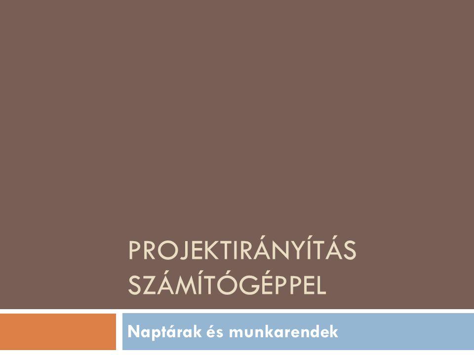 PROJEKTIRÁNYÍTÁS SZÁMÍTÓGÉPPEL Naptárak és munkarendek