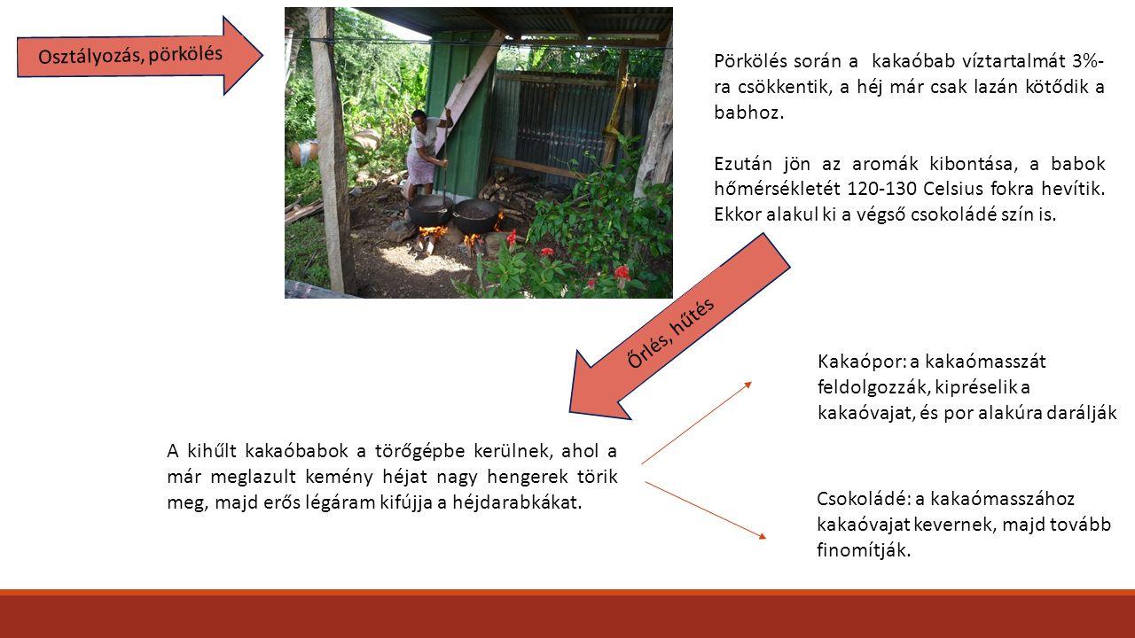 Osztályozás, pörkölés Pörkölés során a kakaóbab víztartalmát 3%- ra csökkentik, a héj már csak lazán kötődik a babhoz. Ezután jön az aromák kibontása,