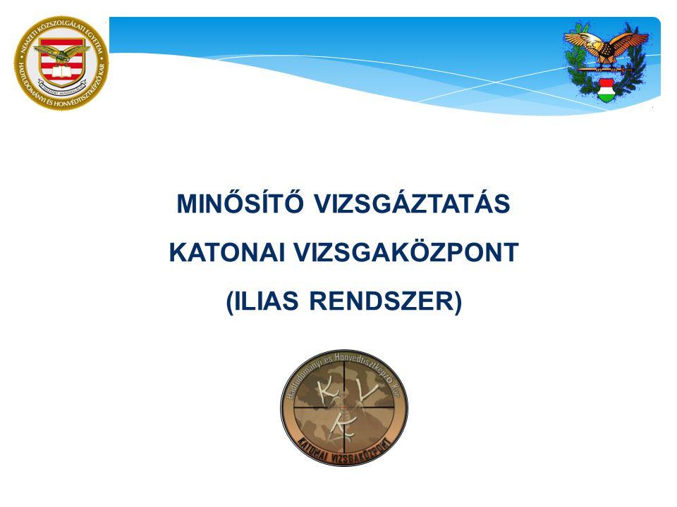 MINŐSÍTŐ VIZSGÁZTATÁS KATONAI VIZSGAKÖZPONT (ILIAS RENDSZER)