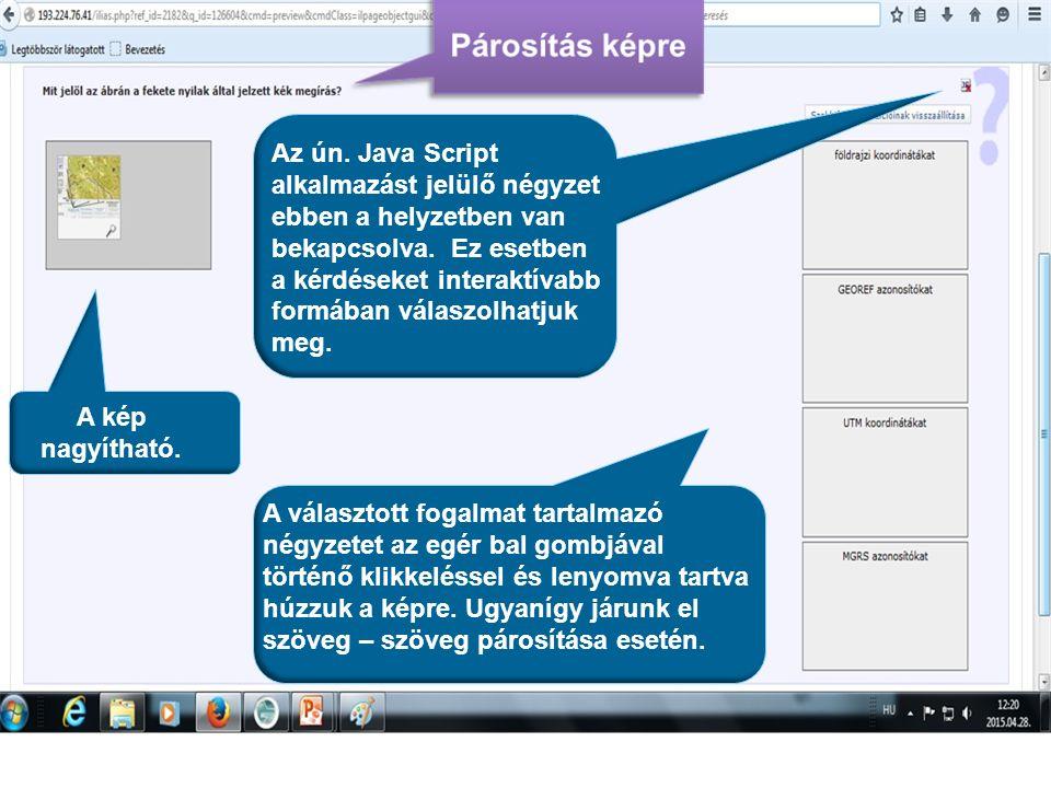 A kép nagyítható. Az ún. Java Script alkalmazást jelülő négyzet ebben a helyzetben van bekapcsolva. Ez esetben a kérdéseket interaktívabb formában vál