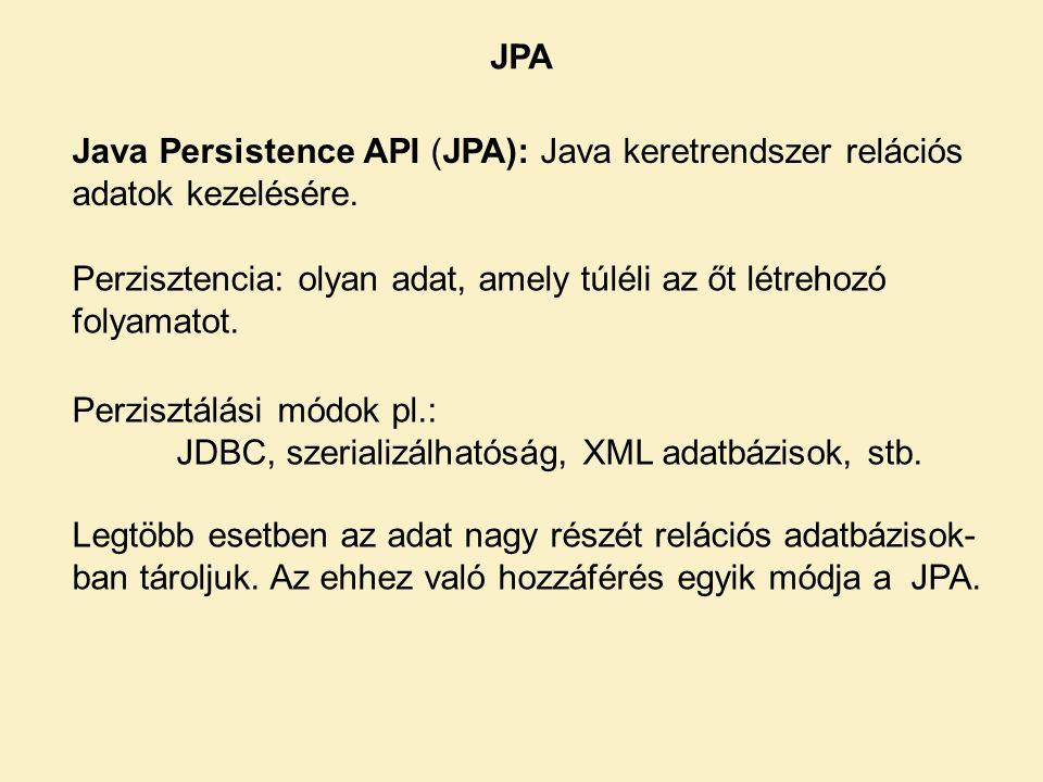 Java Persistence API (JPA): Java keretrendszer relációs adatok kezelésére.