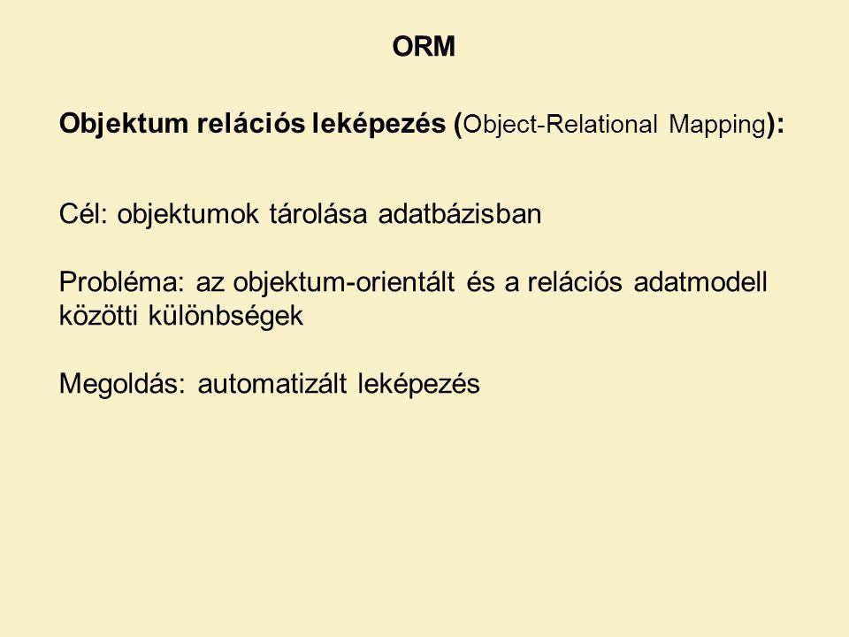 ORM Objektum relációs leképezés ( Object-Relational Mapping ): Cél: objektumok tárolása adatbázisban Probléma: az objektum-orientált és a relációs adatmodell közötti különbségek Megoldás: automatizált leképezés