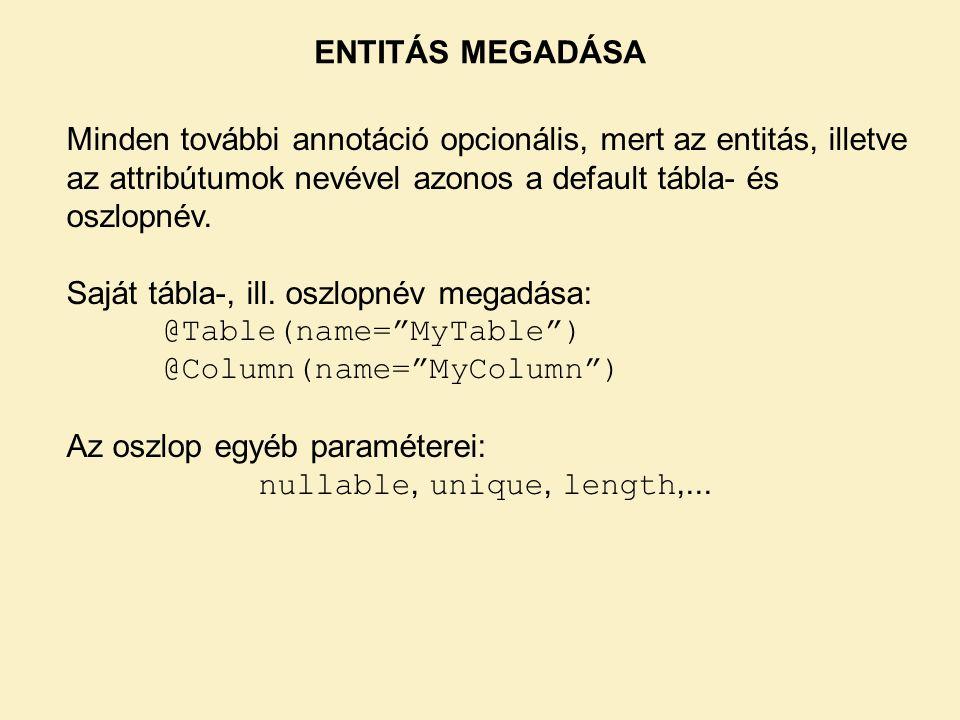 ENTITÁS MEGADÁSA Minden további annotáció opcionális, mert az entitás, illetve az attribútumok nevével azonos a default tábla- és oszlopnév.