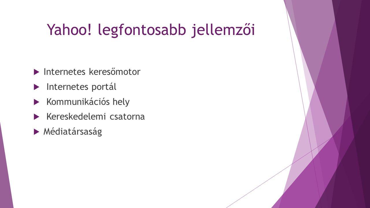 Yahoo! legfontosabb jellemzői  Internetes keresőmotor  Internetes portál  Kommunikációs hely  Kereskedelemi csatorna  Médiatársaság