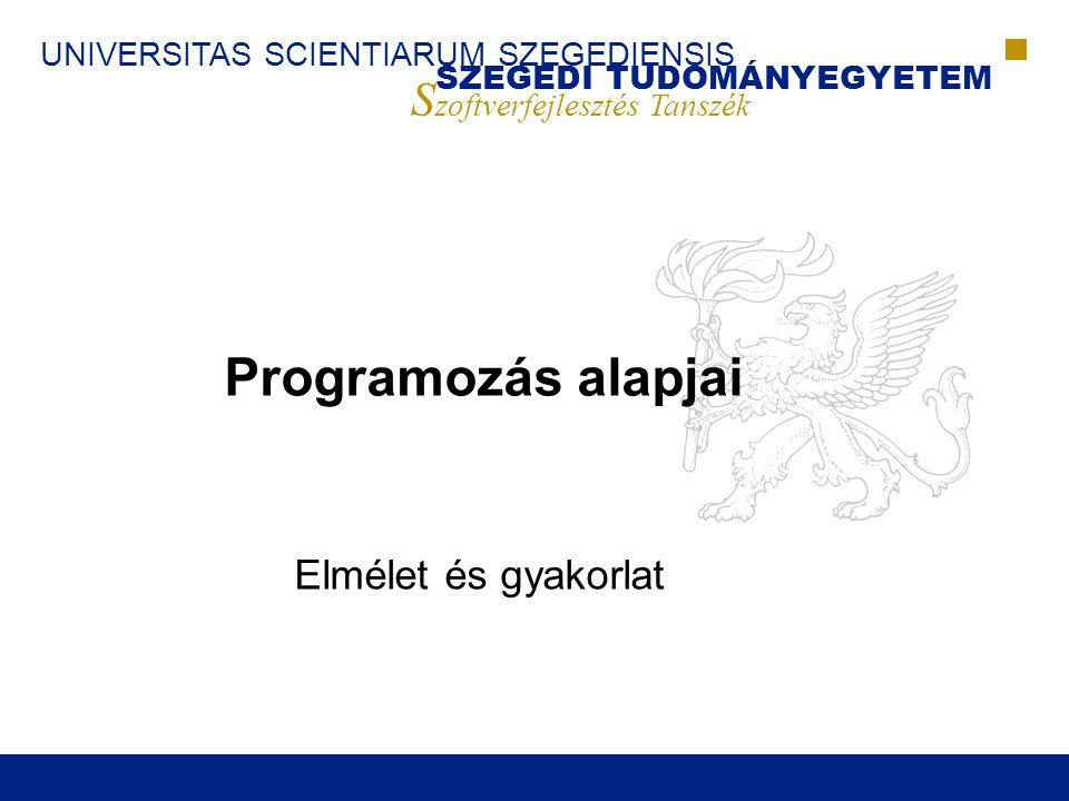 SZEGEDI TUDOMÁNYEGYETEM S zoftverfejlesztés Tanszék UNIVERSITAS SCIENTIARUM SZEGEDIENSIS Programozás Alapjai (2008)22 A programozás fázisai (folyt.)  Az egyik első és legegyszerűbb a vízesés modell ■Követelmény-specifikáció (Problémafelvetés, Specifikáció) ■Tervezés (Algoritmustervezés) ■Megvalósítás ■Integráció ■Ellenőrzés (Helyességigazolás, Költségelemzés, Tesztelés) ■Telepítés ■Fenntartás (Végrehajtás, Fenntartás)