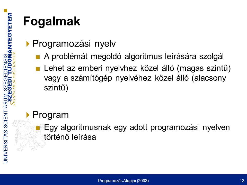 SZEGEDI TUDOMÁNYEGYETEM S zoftverfejlesztés Tanszék UNIVERSITAS SCIENTIARUM SZEGEDIENSIS Programozás Alapjai (2008)13 Fogalmak  Programozási nyelv ■A