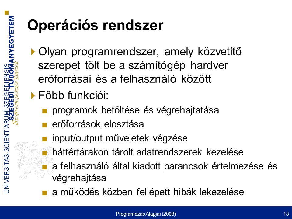 SZEGEDI TUDOMÁNYEGYETEM S zoftverfejlesztés Tanszék UNIVERSITAS SCIENTIARUM SZEGEDIENSIS Programozás Alapjai (2008)18 Operációs rendszer  Olyan progr