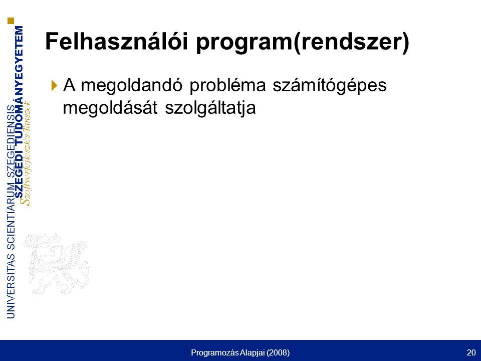 SZEGEDI TUDOMÁNYEGYETEM S zoftverfejlesztés Tanszék UNIVERSITAS SCIENTIARUM SZEGEDIENSIS Programozás Alapjai (2008)20 Felhasználói program(rendszer) 