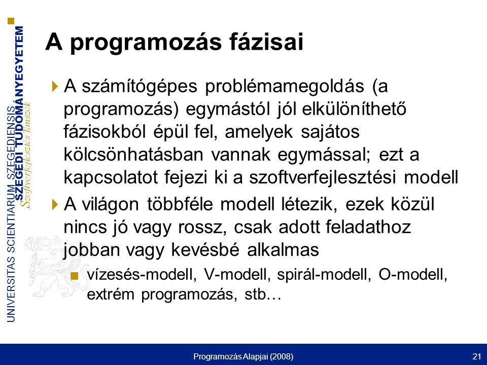SZEGEDI TUDOMÁNYEGYETEM S zoftverfejlesztés Tanszék UNIVERSITAS SCIENTIARUM SZEGEDIENSIS Programozás Alapjai (2008)21 A programozás fázisai  A számít