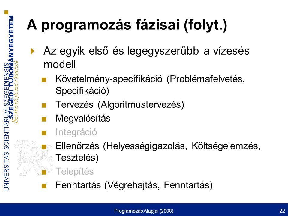 SZEGEDI TUDOMÁNYEGYETEM S zoftverfejlesztés Tanszék UNIVERSITAS SCIENTIARUM SZEGEDIENSIS Programozás Alapjai (2008)22 A programozás fázisai (folyt.) 