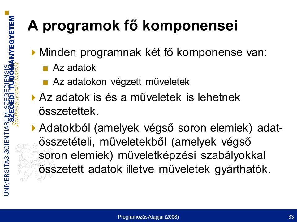 SZEGEDI TUDOMÁNYEGYETEM S zoftverfejlesztés Tanszék UNIVERSITAS SCIENTIARUM SZEGEDIENSIS Programozás Alapjai (2008)33 A programok fő komponensei  Min