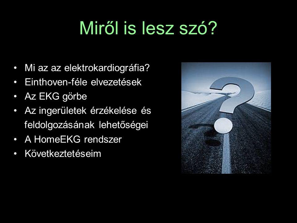 Miről is lesz szó? Mi az az elektrokardiográfia? Einthoven-féle elvezetések Az EKG görbe Az ingerületek érzékelése és feldolgozásának lehetőségei A Ho