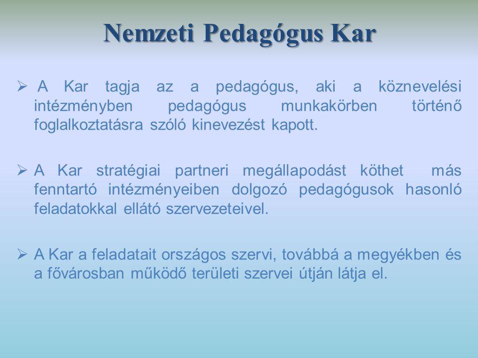 Nemzeti Pedagógus Kar  A Kar tagja az a pedagógus, aki a köznevelési intézményben pedagógus munkakörben történő foglalkoztatásra szóló kinevezést kap