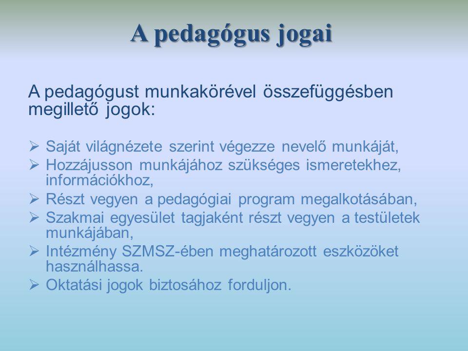 A pedagógus jogai A pedagógust munkakörével összefüggésben megillető jogok:  Saját világnézete szerint végezze nevelő munkáját,  Hozzájusson munkájá