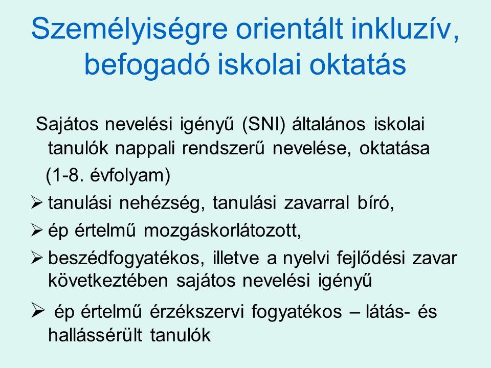 Személyiségre orientált inkluzív, befogadó iskolai oktatás Sajátos nevelési igényű (SNI) általános iskolai tanulók nappali rendszerű nevelése, oktatás
