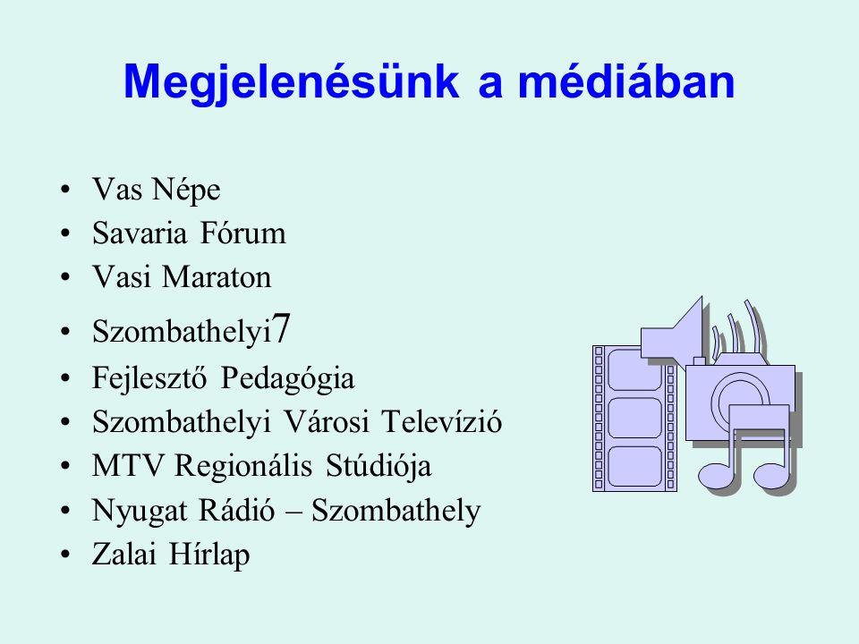Megjelenésünk a médiában Vas Népe Savaria Fórum Vasi Maraton Szombathelyi 7 Fejlesztő Pedagógia Szombathelyi Városi Televízió MTV Regionális Stúdiója