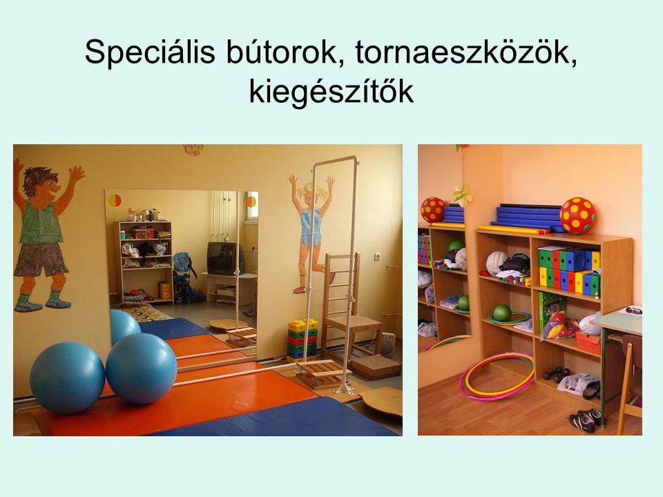 Speciális bútorok, tornaeszközök, kiegészítők