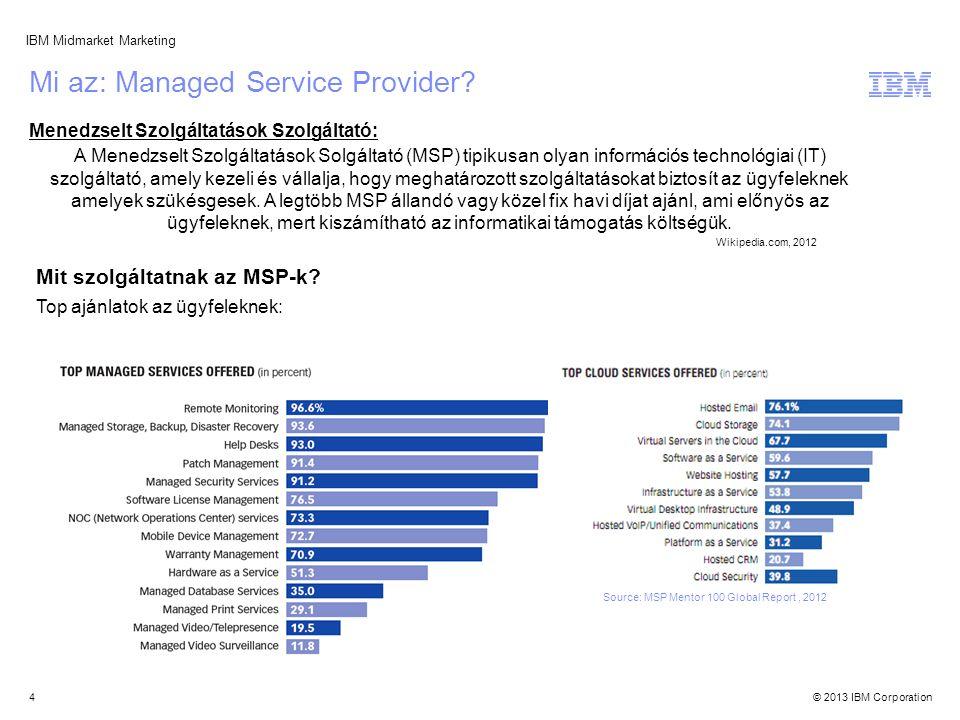 © 2013 IBM Corporation IBM Midmarket Marketing Source: MSP Mentor 100 Global Report, 2012 Mivel eladunk nekik ezért a klienseik.Például eladunk Storage eszközöket egy MSP-nek, hogy bővíthesse szolgáltatásait.