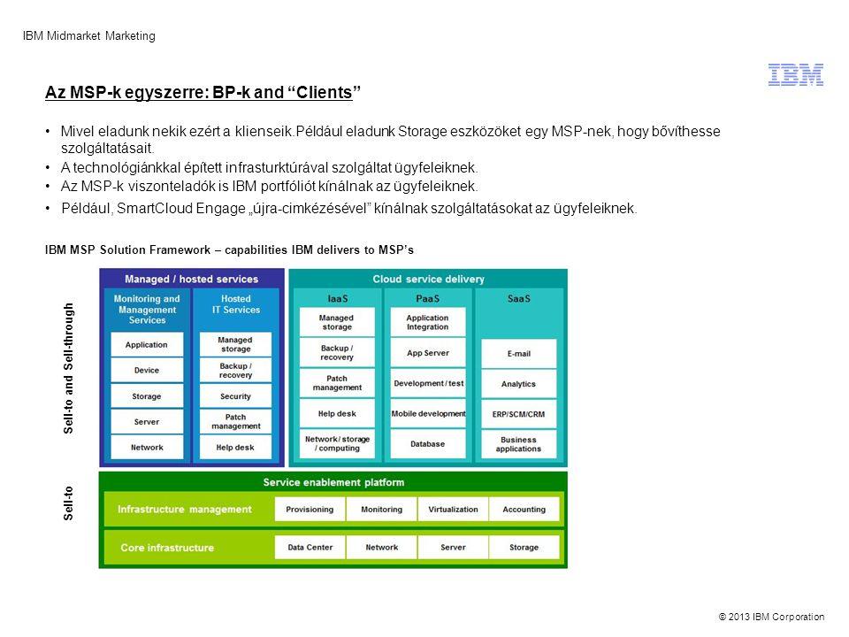 © 2013 IBM Corporation IBM Midmarket Marketing Source: MSP Mentor 100 Global Report, 2012 Mivel eladunk nekik ezért a klienseik.Például eladunk Storag
