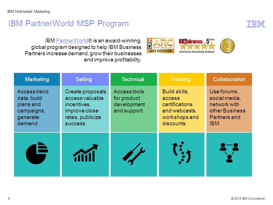 © 2013 IBM Corporation IBM Midmarket Marketing IBM PartnerWorld MSP Program IBM PartnerWorld® is an award-winning, global program designed to help IBM