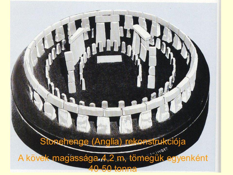 Stonehenge (Anglia) rekonstrukciója A kövek magassága 4,2 m, tömegük egyenként 40-50 tonna