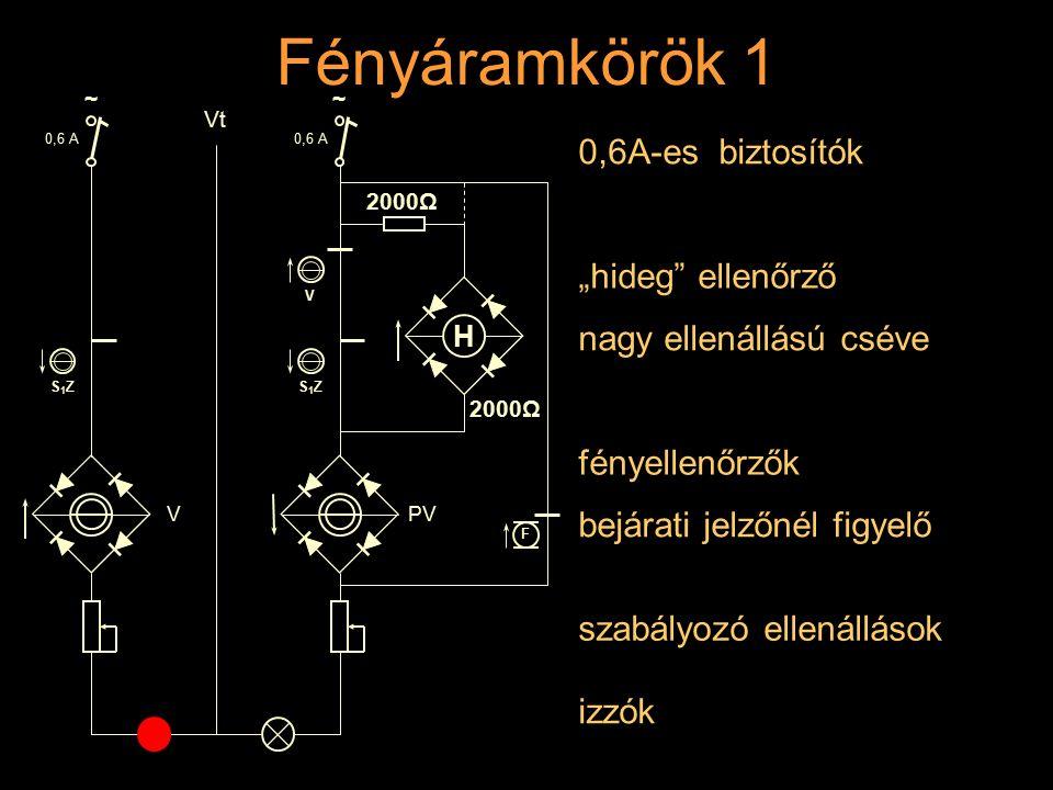 Fényáramkörök 1 Rétlaki Győző: Dominó-55 0,6A-es biztosítók 0,6 A S1ZS1Z V ~ Vt 0,6 A V S1ZS1Z PV ~ szabályozó ellenállások izzók F bejárati jelzőnél