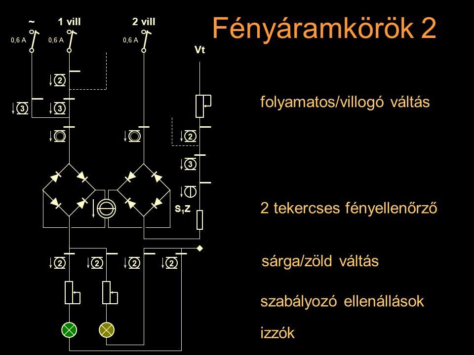 Fényáramkörök 2 Rétlaki Győző: Dominó-55 szabályozó ellenállások izzók 2 tekercses fényellenőrző folyamatos/villogó váltás sárga/zöld váltás