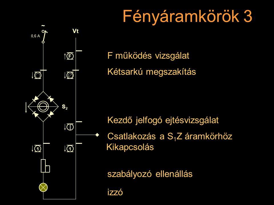 Fényáramkörök 3 Rétlaki Győző: Dominó-55 szabályozó ellenállás izzó Kétsarkú megszakítás F működés vizsgálat Kikapcsolás 0,6 A S2S2 ~ Vt 11 F Kezdő je