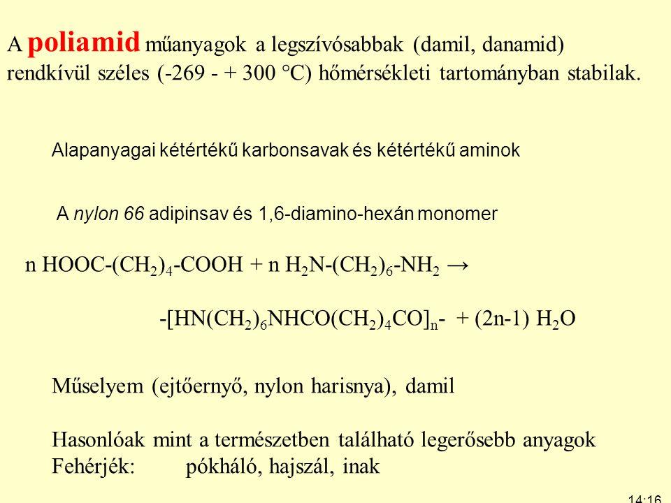 14:19 7:24 A poliamid műanyagok a legszívósabbak (damil, danamid) rendkívül széles (-269 - + 300  C) hőmérsékleti tartományban stabilak. n HOOC-(CH 2