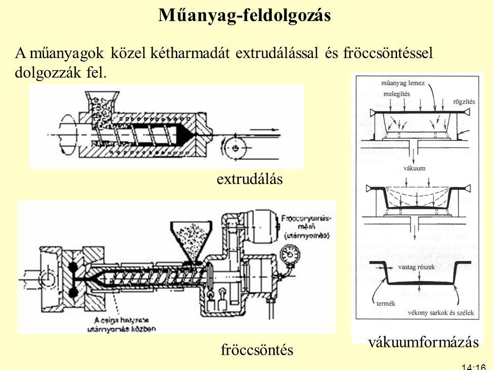 14:19 7:24 Műanyag-feldolgozás A műanyagok közel kétharmadát extrudálással és fröccsöntéssel dolgozzák fel. fröccsöntés extrudálás vákuumformázás