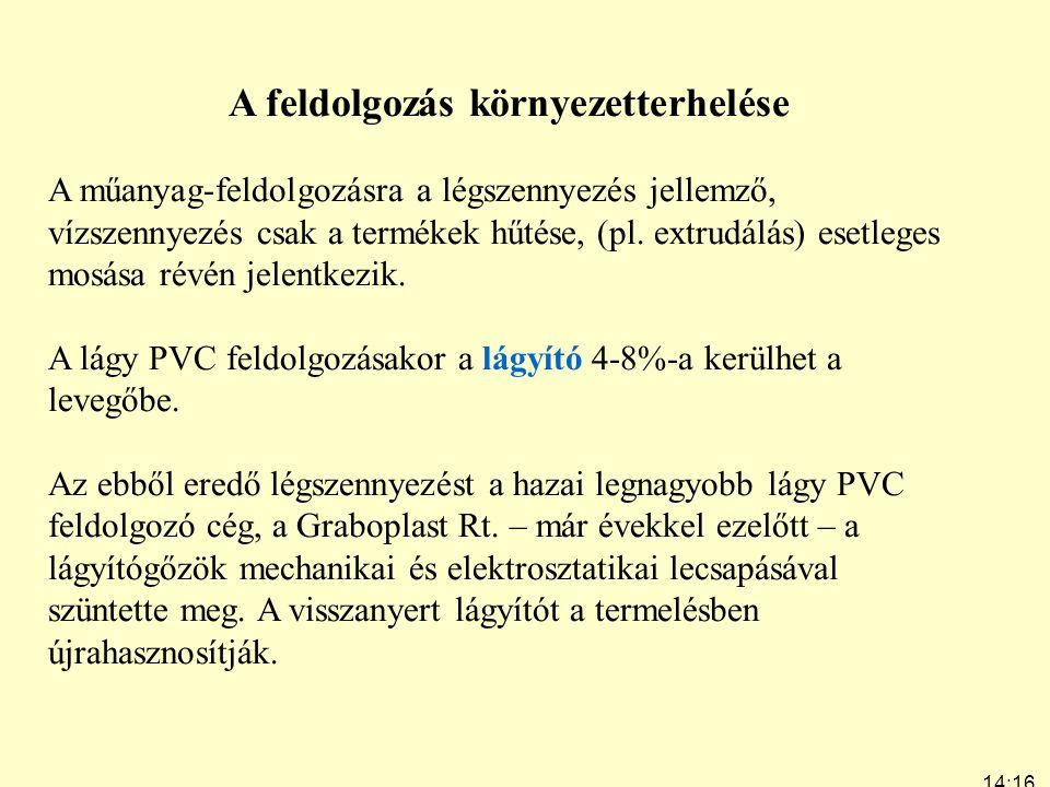 14:19 7:24 A feldolgozás környezetterhelése A műanyag-feldolgozásra a légszennyezés jellemző, vízszennyezés csak a termékek hűtése, (pl. extrudálás) e