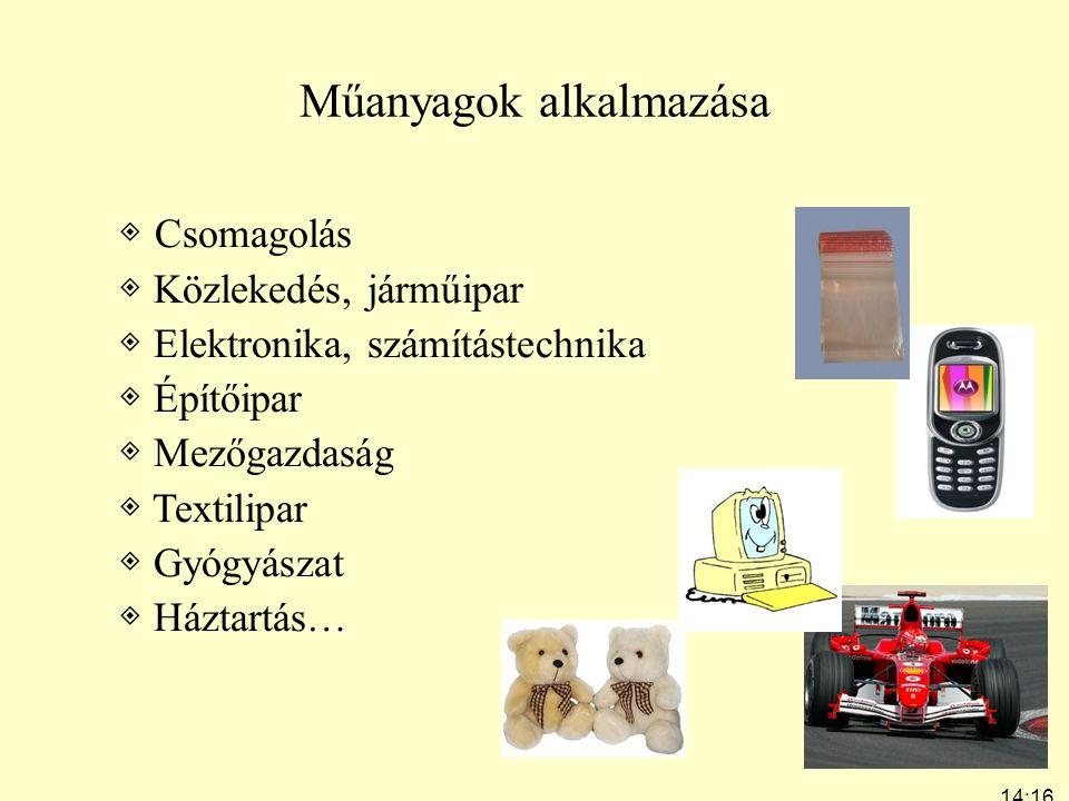 14:19 7:24 Műanyagok alkalmazása ◈ Csomagolás ◈ Közlekedés, járműipar ◈ Elektronika, számítástechnika ◈ Építőipar ◈ Mezőgazdaság ◈ Textilipar ◈ Gyógyá