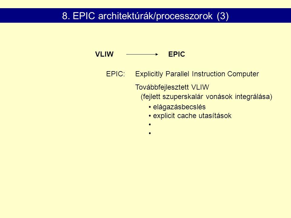 VLIWEPIC EPIC: Explicitly Parallel Instruction Computer Továbbfejlesztett VLIW elágazásbecslés explicit cache utasítások 8.