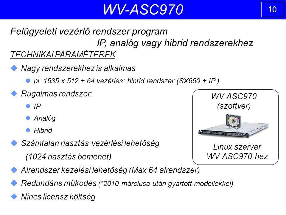 10 WV-ASC970 Felügyeleti vezérlő rendszer program IP, analóg vagy hibrid rendszerekhez TECHNIKAI PARAMÉTEREK  Nagy rendszerekhez is alkalmas pl.