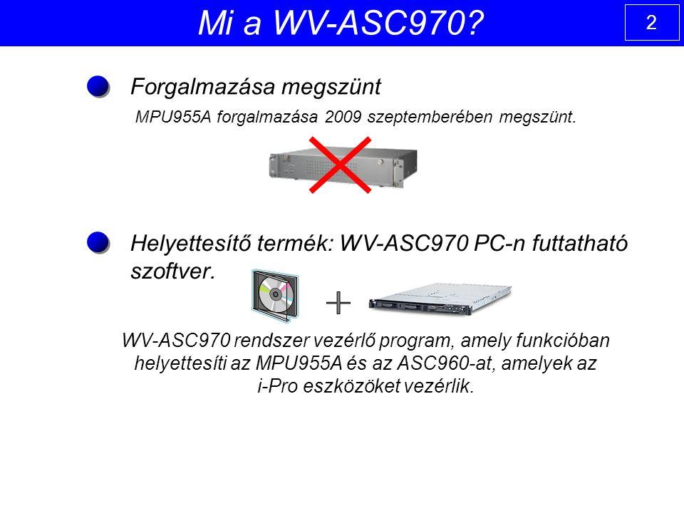 2 WV-ASC970 rendszer vezérlő program, amely funkcióban helyettesíti az MPU955A és az ASC960-at, amelyek az i-Pro eszközöket vezérlik.
