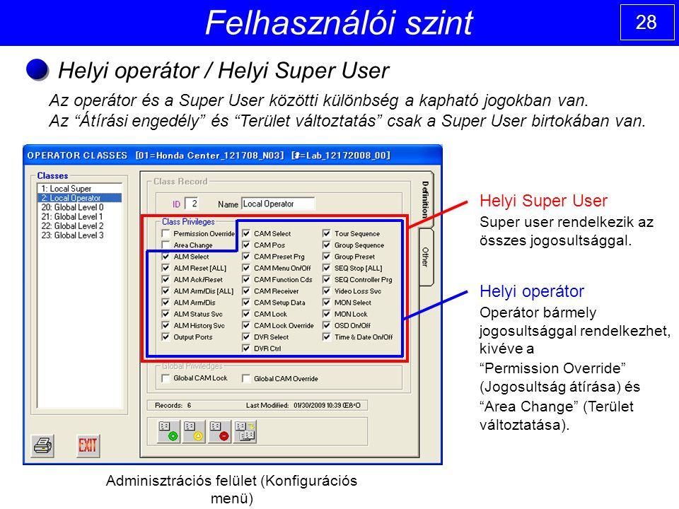 28 Felhasználói szint Helyi operátor / Helyi Super User Adminisztrációs felület (Konfigurációs menü) Helyi Super User Super user rendelkezik az összes jogosultsággal.