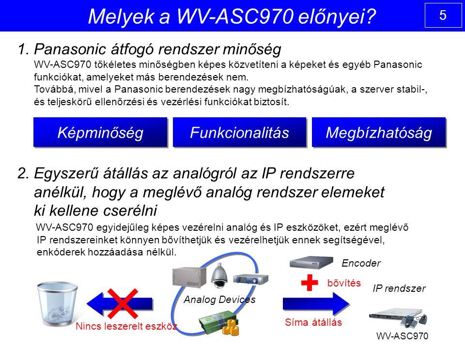5 1. Panasonic átfogó rendszer minőség WV-ASC970 tőkéletes minőségben képes közvetíteni a képeket és egyéb Panasonic funkciókat, amelyeket más berende