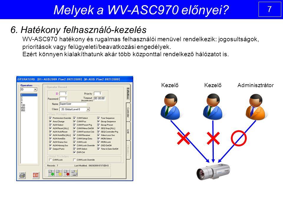 7 6. Hatékony felhasználó-kezelés WV-ASC970 hatékony és rugalmas felhasználói menüvel rendelkezik: jogosultságok, prioritások vagy felügyeleti/beavatk