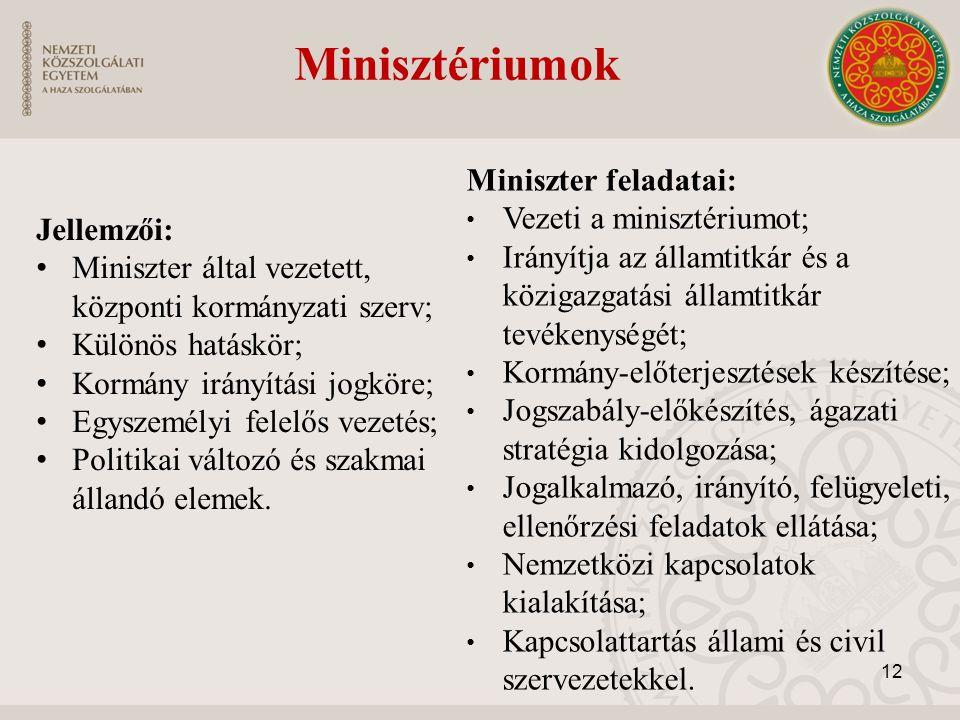 Miniszter feladatai: Vezeti a minisztériumot; Irányítja az államtitkár és a közigazgatási államtitkár tevékenységét; Kormány-előterjesztések készítése