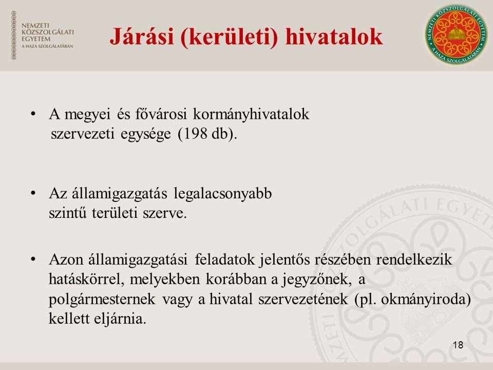 Járási (kerületi) hivatalok A megyei és fővárosi kormányhivatalok szervezeti egysége (198 db). 18 Azon államigazgatási feladatok jelentős részében ren