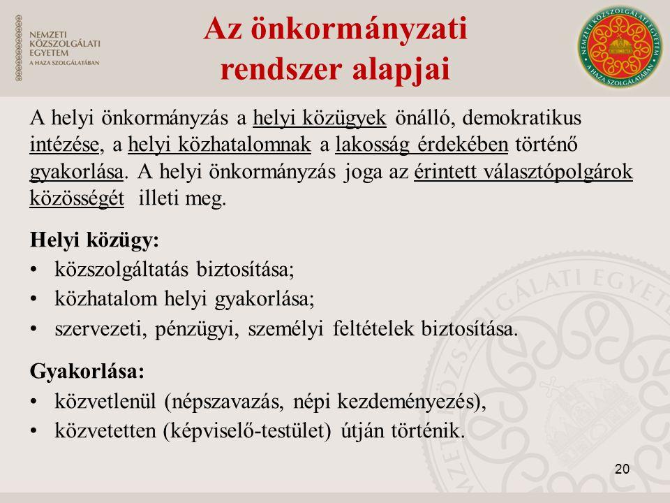 A helyi önkormányzás a helyi közügyek önálló, demokratikus intézése, a helyi közhatalomnak a lakosság érdekében történő gyakorlása. A helyi önkormányz