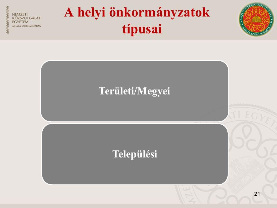 A helyi önkormányzatok típusai Területi/MegyeiTelepülési 21