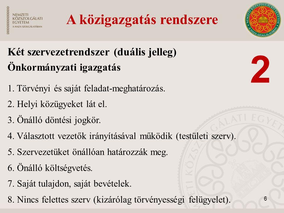 Önkormányzati igazgatás 1. Törvényi és saját feladat-meghatározás. 2. Helyi közügyeket lát el. 3. Önálló döntési jogkör. 4. Választott vezetők irányít