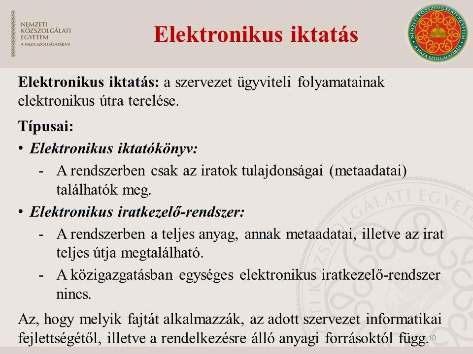Elektronikus iktatás Elektronikus iktatás: a szervezet ügyviteli folyamatainak elektronikus útra terelése. Típusai: Elektronikus iktatókönyv: -A rends