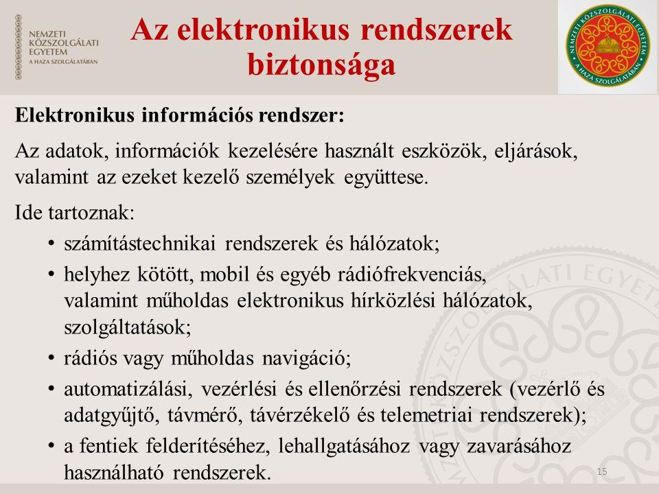 Az elektronikus rendszerek biztonsága Elektronikus információs rendszer: Az adatok, információk kezelésére használt eszközök, eljárások, valamint az e