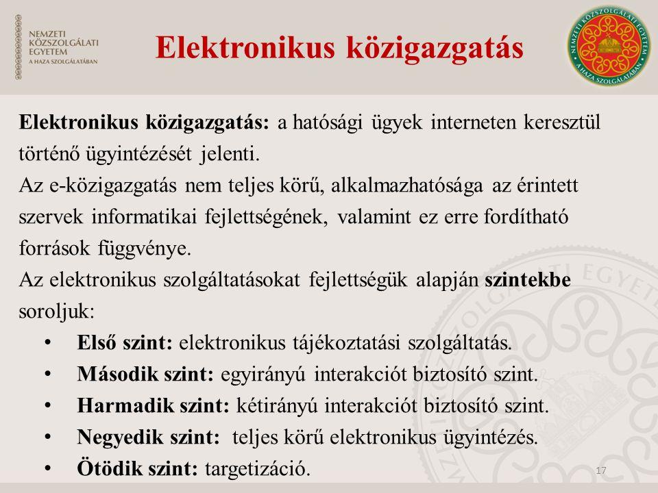 Elektronikus közigazgatás Elektronikus közigazgatás: a hatósági ügyek interneten keresztül történő ügyintézését jelenti. Az e-közigazgatás nem teljes